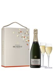 Henriot Brut Souverain NV with 2 Champagne Glasses